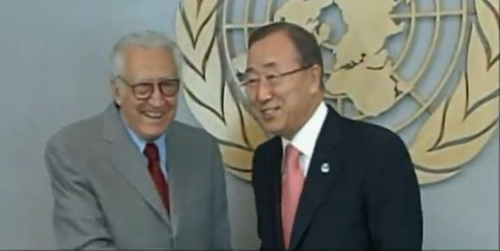Bank Ki Moon and Laktar Brahimi close to UN