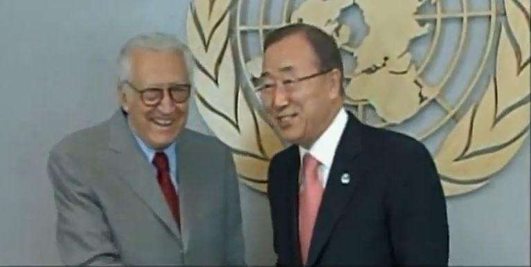 Bank Ki Moon and Laktar Brahimi close to UN