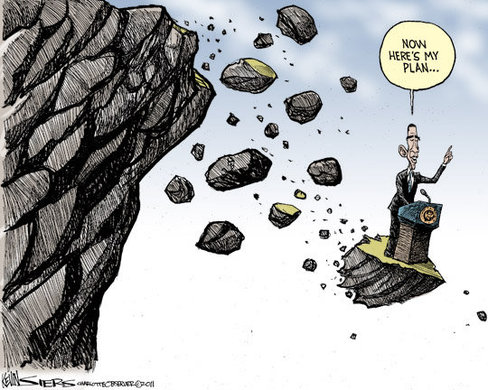 Cartoon - Obama Off Cliff