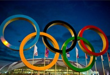 Atos at the Olympic Winter Games in Sochi looking at Bolshoy Arena with Olympic rings